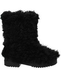 Saint Laurent Ankle Boots Fur - Black