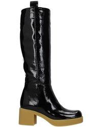 Miu Miu Boots Patent Leather - Black
