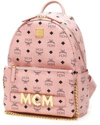 MCM Trilogie Stark Visetos Backpack - Pink