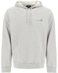 A.P.C. Item 001 Logo Print Hoodie S Cotton - Grey