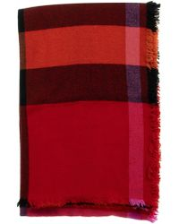 Burberry Fringed Check Wool Cashmere Scarf - Red