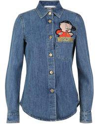 Moschino Embroided Porky Pig Denim Shirt