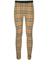 Burberry Belvoir Logo Detail Vintage Check leggings - Natural