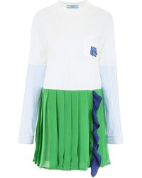 Prada T-shirt Dress With Logo - Green