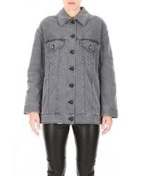 Fendi Denim Jacket With Pearls - Grey