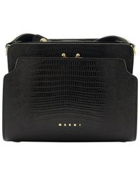 Marni Trunk Reverse Lizard-effect Shoulder Bag - Black
