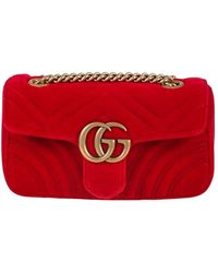 f9243e0f62eb Gucci - Marmont Mini Gg Bag In Red Velvet With Chevron Pattern And Heart On  The