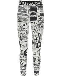 Dolce & Gabbana Graffiti LEGGINS 38 Technical - White
