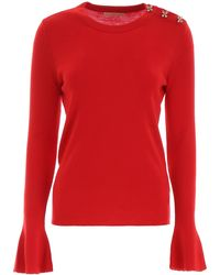 Tory Burch Crystal Button Pullover - Red