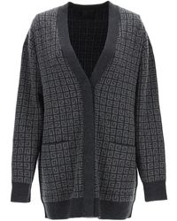 Givenchy Cashmere Cardigan With Monogram Motif - Grey