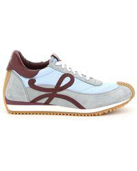 Loewe Flow Runner Sneakers In Leather And Nylon - Blue