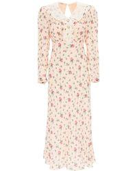 Miu Miu Floral Silk Long Dress - Pink