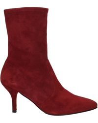 Stuart Weitzman Ankle Boots Cling Suede - Red