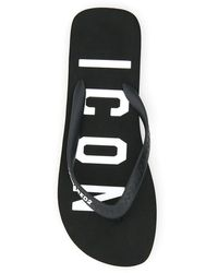 DSquared² Rubber Thong Slides Icon Logo - Black