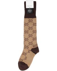 Gucci - Brown And Beige GG Supreme Long Socks - Lyst