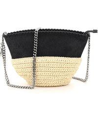 Stella McCartney Faux Leather And Raffia Mini Bag With Chain - Black