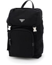 Prada Nylon And Saffiano Backpack - Black
