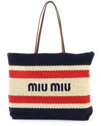 Miu Miu Fabric And Raffia Tote Bag - Multicolor