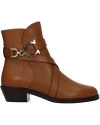 Ferragamo Ankle Boots Shadi Leather Capuchin - Brown