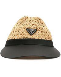 Prada Raffia And Nylon Visor Hat - Multicolor