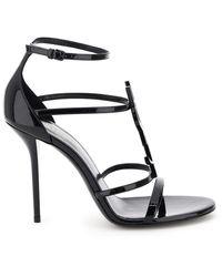 Saint Laurent Cassandra Leather Sandals - Black