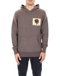 Kent & Curwen Hoodie With Rose Patch - Grey