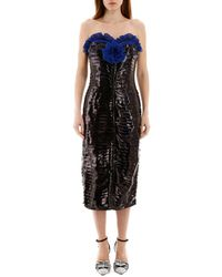 Marco De Vincenzo Pleated Bustier Dress 40 - Black