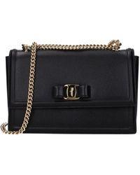 Ferragamo Crossbody Bag Ginny Leather - Black