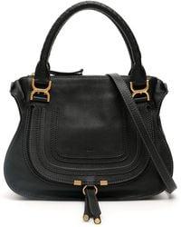 Chloé Marcie Small Leather Satchel - Black