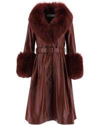 Saks Potts Foxy Leather Coat - Purple