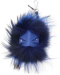 Fendi Key Rings Mostro Cubo Fur - Blue