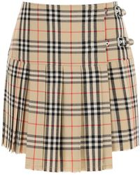 Burberry Zoe Mini Skirt In Vintage Check Wool - Multicolor
