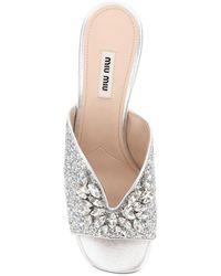 Miu Miu Crystal Glitter Mules 38 Cotton - Metallic