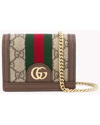 Gucci Brown Cotton And Leather Ophidia GG Chain Wallet From Featuring Chain-link Shoulder Strap - Natural