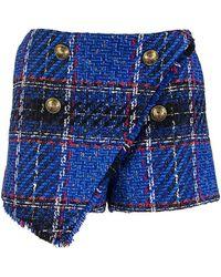 Balmain Asymmetrical Blue Tartan Tweed Shorts