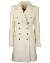 Balmain Overcoat Blanc - Natural