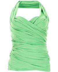 Balenciaga Draped Bustier Top - Green