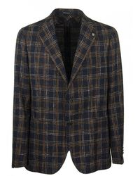 Tagliatore Two-button Plaid Jacket Blazer - Black