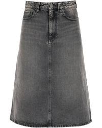 Balenciaga Japanese Denim Midi Skirt - Gray