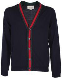 Gucci Dark Blue Cotton Jersey Cardigan