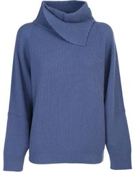 Brunello Cucinelli Knitted Hooded Jumper - Blue