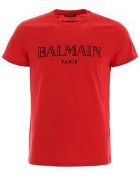 Balmain Cotton Logo T-shirt - Red