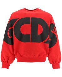 Gcds Round Tee Sweatshirt Maxi Logo S Cotton - Red