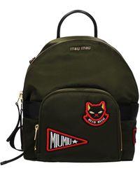 Miu Miu Backpacks And Bumbags Fabric - Green