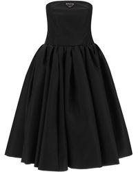 Prada Re-nylon Gabardine Bustier Dress - Black