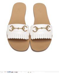 Gucci Slippers Bianche In Pelle - Multicolour
