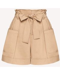RED Valentino Beige High-waisted Cargo Shorts - Natural