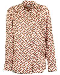 Burberry Godwit Monogram Tb Silk Blouse - Multicolour