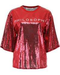 Philosophy Sequins Logo Blouse - Red