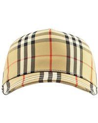 Burberry Logo Applique' Vintage Check Trucker Baseball Cap - Natural